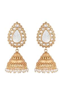 Gold Finish Antique Jhumka Earrings by VASTRAA Jewellery