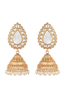 Gold Finish Antique Jhumka Earrings by VASTRAA Jewellery
