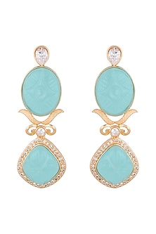 Gold Finish Blue Stone Antique Earrings by VASTRAA Jewellery