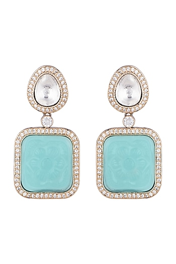 Gold Finish Faux Diamonds Earrings by VASTRAA Jewellery