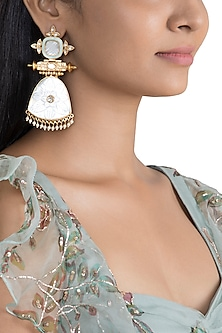 Gold Finish Blue Enamelled Antique Earrings by VASTRAA Jewellery
