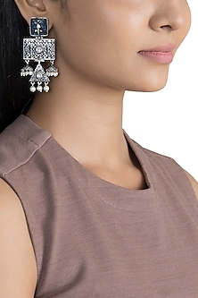 Black Rhodium Finish Blue Stone Earrings by VASTRAA Jewellery
