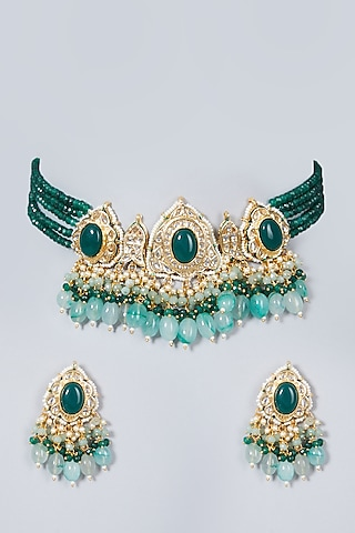 Gold Finish Green Beads & Kundan Polki Choker Necklace Set by VASTRAA Jewellery