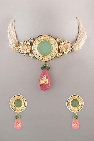 Gold Finish Pearl & Kundan Polki Necklace Set by VASTRAA Jewellery
