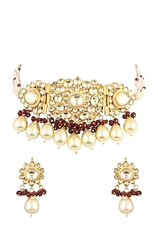 Gold Finish Faux Pearl Choker Necklace Set by VASTRAA Jewellery