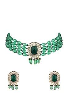 Gold Finish Green Beaded Choker Necklace Set by VASTRAA Jewellery