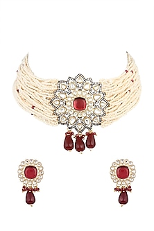 Gold Finish Red Stone Choker Necklace Set by VASTRAA Jewellery