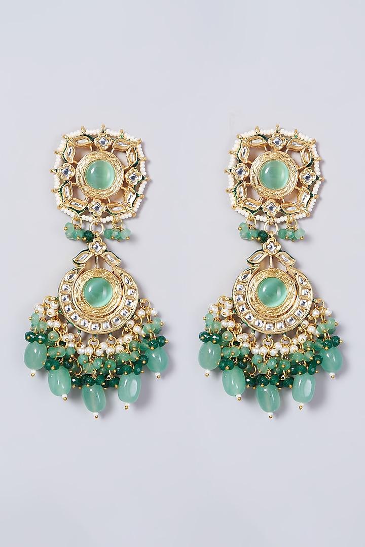 Gold Finish Kundan Polki Dangler Earrings by VASTRAA Jewellery