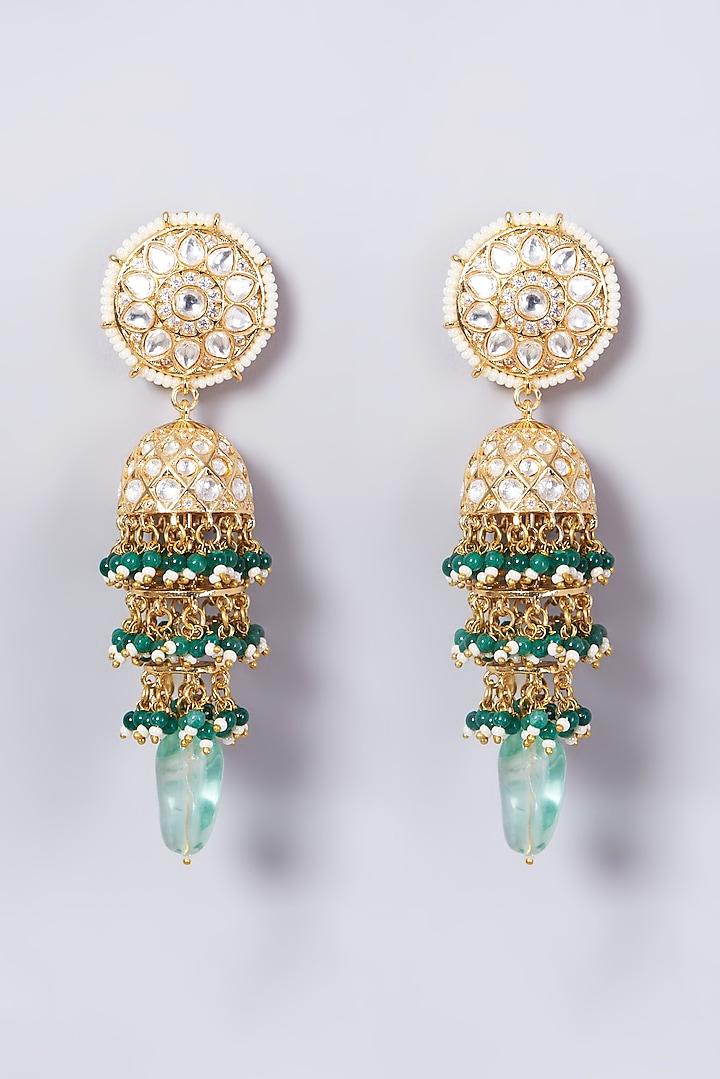 Gold Finish Green Beaded Dangler Earrings by VASTRAA Jewellery