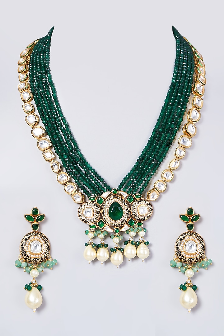 Gold Finish Long Necklace Set With Green Beads by VASTRAA Jewellery