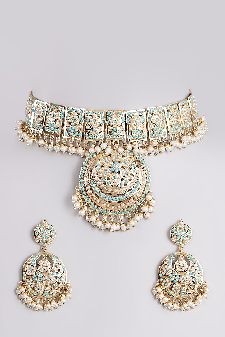 Gold Finish Pearl Necklace Set by VASTRAA Jewellery