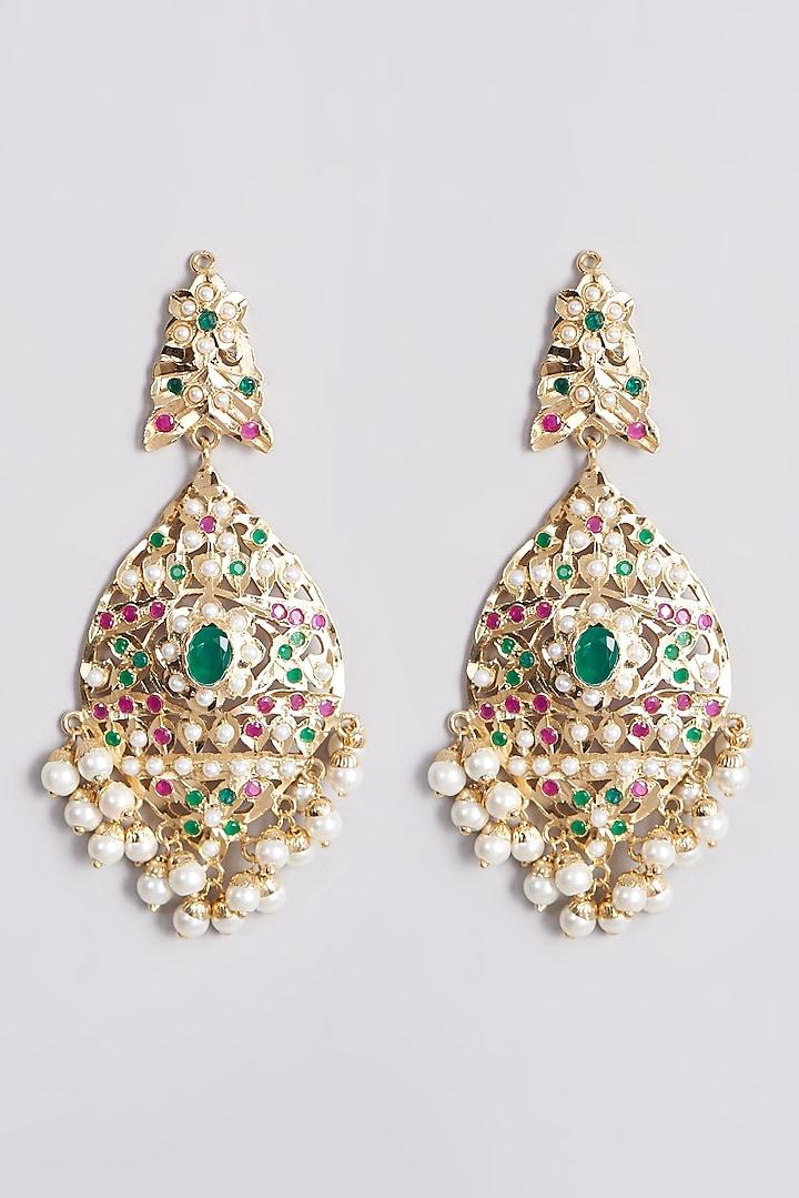 Gold Finish Pearl Dangler Earrings by VASTRAA Jewellery