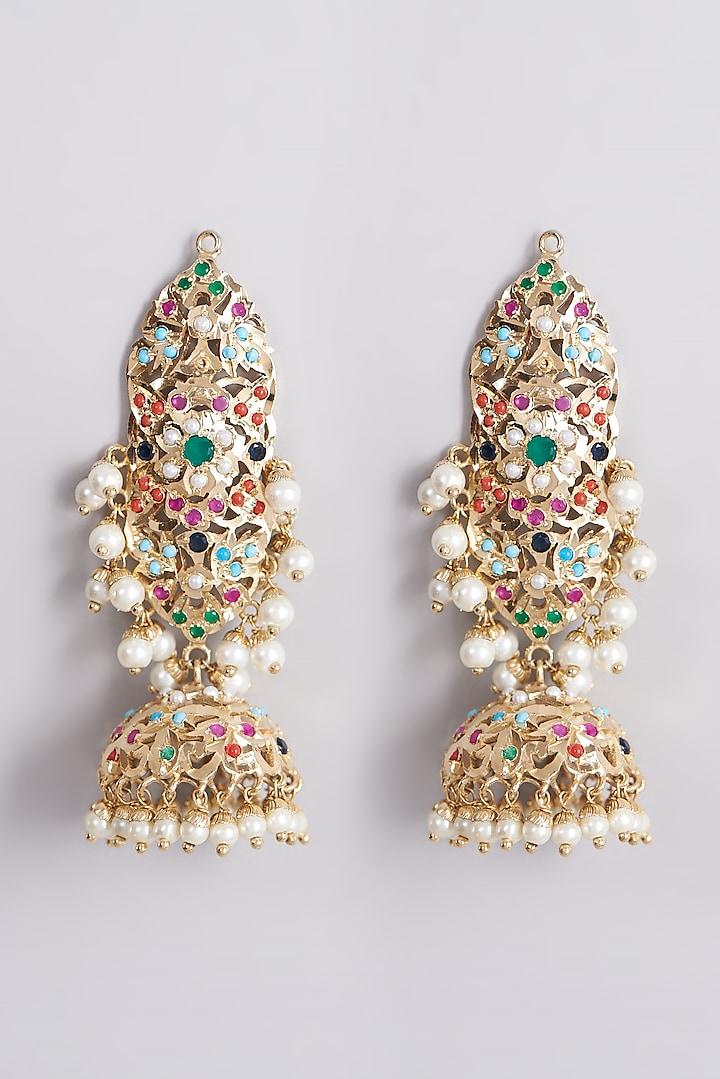 Gold Finish Jhumka Earrings by VASTRAA Jewellery