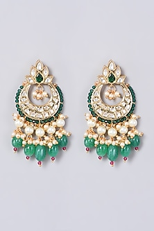 Gold Finish Kundan Polki & Green Beads Earrings by VASTRAA Jewellery-POPULAR PRODUCTS AT STORE