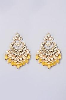 Gold Finish Kundan Polki Chandbali Earrings by VASTRAA Jewellery-POPULAR PRODUCTS AT STORE