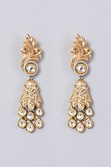 Gold Finish Kundan Polki Earrings In Mixed Metal by VASTRAA Jewellery-POPULAR PRODUCTS AT STORE