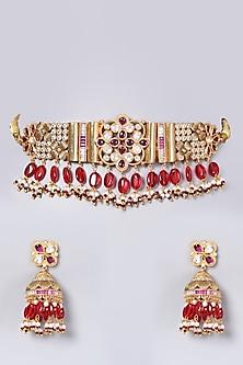 Gold Finish Kundan Polki & Beads Choker Necklace Set by VASTRAA Jewellery-POPULAR PRODUCTS AT STORE