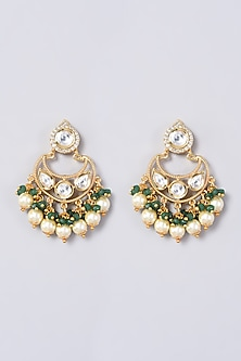 Gold Finish Earrings With Pearls & Faux Diamonds by VASTRAA Jewellery-POPULAR PRODUCTS AT STORE