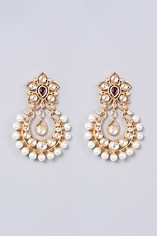 Gold Finish Earrings With Pearls by VASTRAA Jewellery-POPULAR PRODUCTS AT STORE