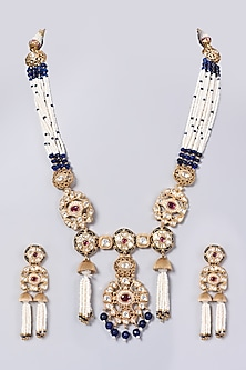 Gold Finish Pearls & Kundan Polki Necklace Set by VASTRAA Jewellery-POPULAR PRODUCTS AT STORE