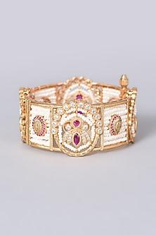 Gold Finish Kundan Polki & Faux Diamonds Bangle by VASTRAA Jewellery-POPULAR PRODUCTS AT STORE
