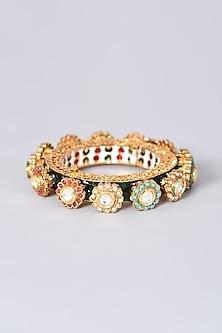 Gold Finish Kundan Polki Meenakari Bangle by VASTRAA Jewellery-POPULAR PRODUCTS AT STORE