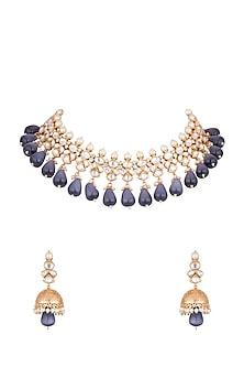 Gold Finish Kundan & Blue Stones Necklace Set by VASTRAA Jewellery