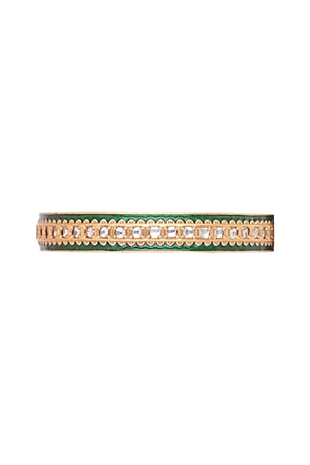 Gold Finish Green Meenakari Bangles by VASTRAA Jewellery
