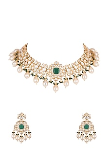 Gold Finish Faux Pearls & Green Stones Necklace Set by VASTRAA Jewellery