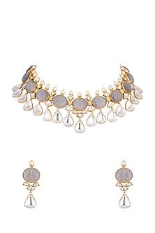 Gold Finish Grey Stones & Kundan Necklace Set by VASTRAA Jewellery