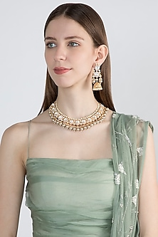 Gold Finish Faux Pearls & Kundan Necklace Set by VASTRAA Jewellery