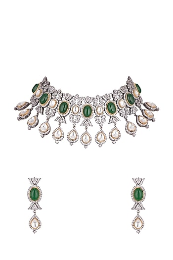 Black Rhodium Finish Faux Diamonds & Green Stones Necklace Set by VASTRAA Jewellery