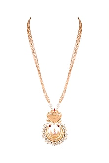 Gold Finish Faux Pearl & Red Stone Chain Pendant Necklace by VASTRAA Jewellery