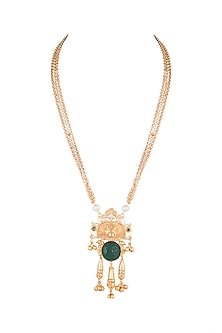 Gold Finish Stone & Pearl Pendant Chain Necklace by VASTRAA Jewellery