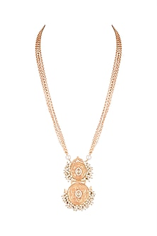 Gold Finish Pearl Chain Pendant Necklace by VASTRAA Jewellery