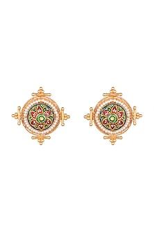 Gold Finish Meenakari Stud Earrings by VASTRAA Jewellery