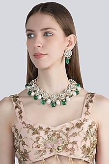 Gold Finish Faux Diamonds & Kundan Necklace Set by VASTRAA Jewellery
