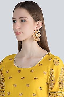 Gold Finish Blue Stone Antique Style Earrings by VASTRAA Jewellery
