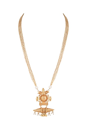 Gold Finish Antique Style Pendant Necklace by VASTRAA Jewellery