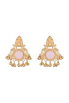 Gold Finish Kundan Antique Style Earrings by VASTRAA Jewellery