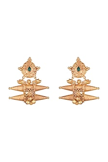 Gold Finish Green Stone Antique Style Earrings by VASTRAA Jewellery