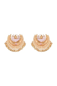 Gold Finish Pink Stone Antique Style Earrings by VASTRAA Jewellery