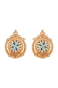 Gold Finish Stone Antique Style Stud Earrings by VASTRAA Jewellery