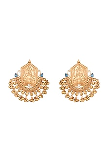 Gold Finish Stone Antique Earrings by VASTRAA Jewellery