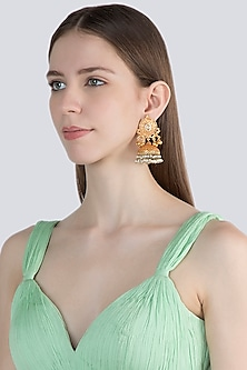 Gold Finish Pearl Antique Style Jhumka Earrings by VASTRAA Jewellery