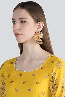 Gold Finish Pearl Antique Jhumka Earrings by VASTRAA Jewellery