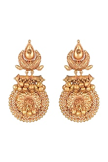 Gold Finish Antique Style Earrings by VASTRAA Jewellery