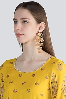 Gold Finish Red Stone Antique Style Earrings by VASTRAA Jewellery