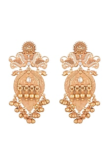 Gold Finish Antique Earrings by VASTRAA Jewellery