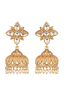 Gold Finish Kundan Jhumka Earrings by VASTRAA Jewellery